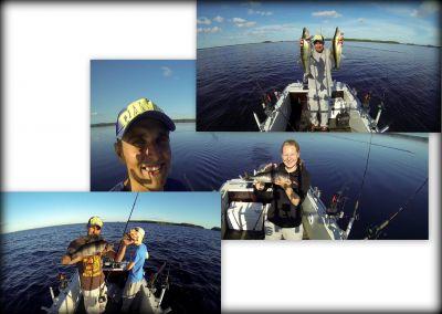 Kuvista päätellen vesillä on joskus mukavaakin... Riku Partanen, Mirva Kokko ja Aku Arola.